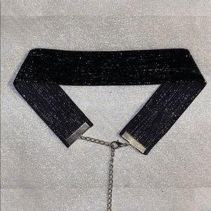 Black Glitter Velvet Choker